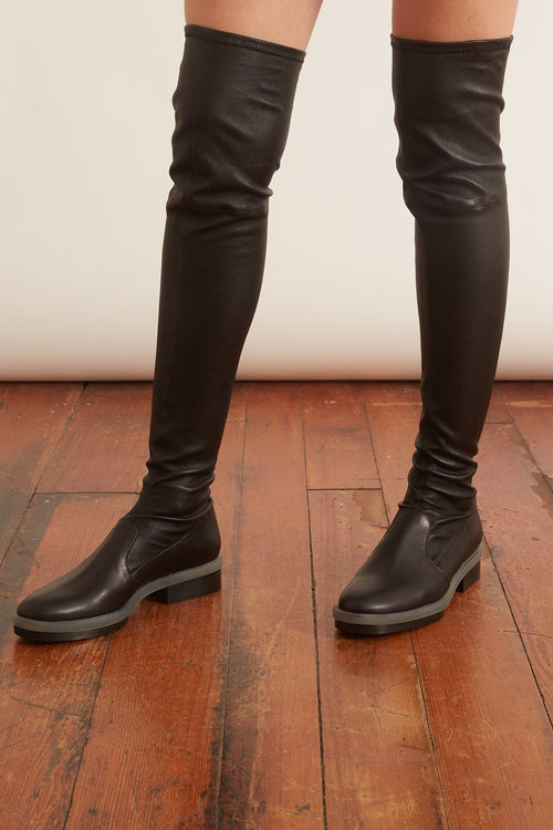Rock A4 Leather Stretch Boots in Black