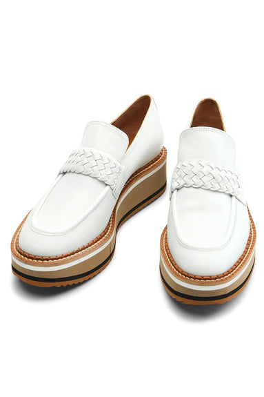 Baldie Leather Platform Loafer in White