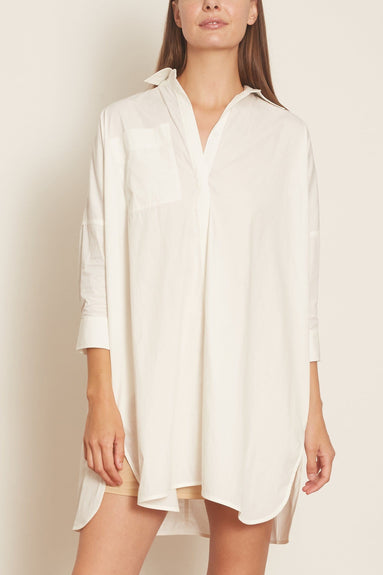 Button Down Drop Shoulder Blouse in White