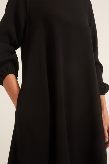 Crepe Balloon Sleeve Dress in Black