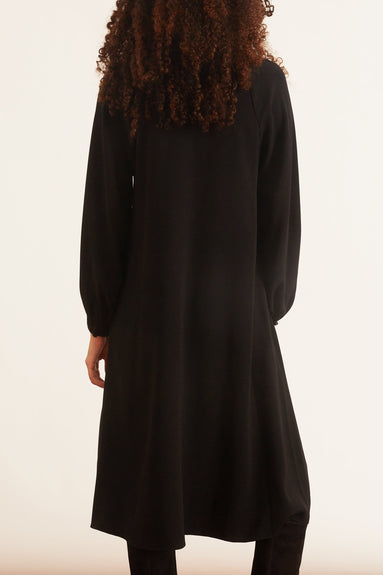 Crepe Peasant Sleeve Dress with Keyhole in Black