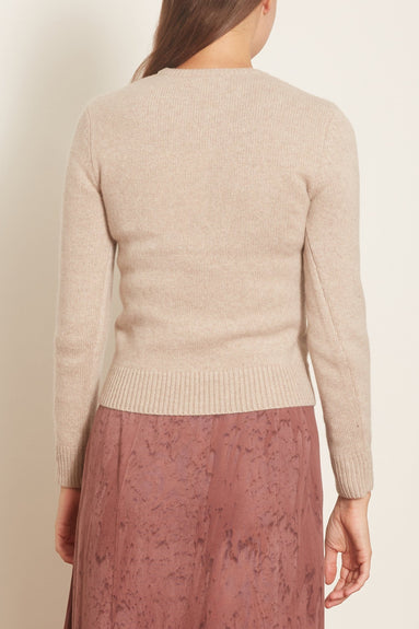 Crewneck Cropped Sweater in Sand Melange
