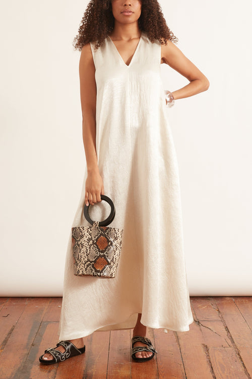 Crinkled Satin Maxi Dress in Ivory