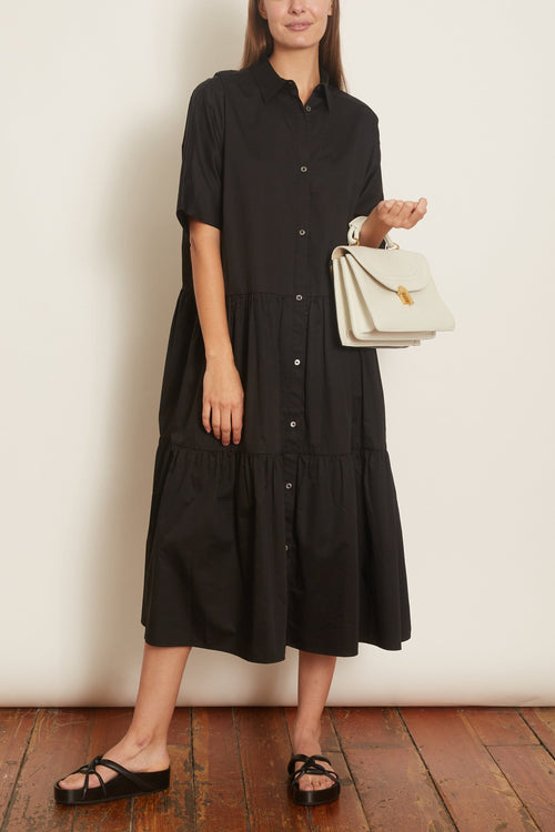 Drop Waist Tiered Dress in Black