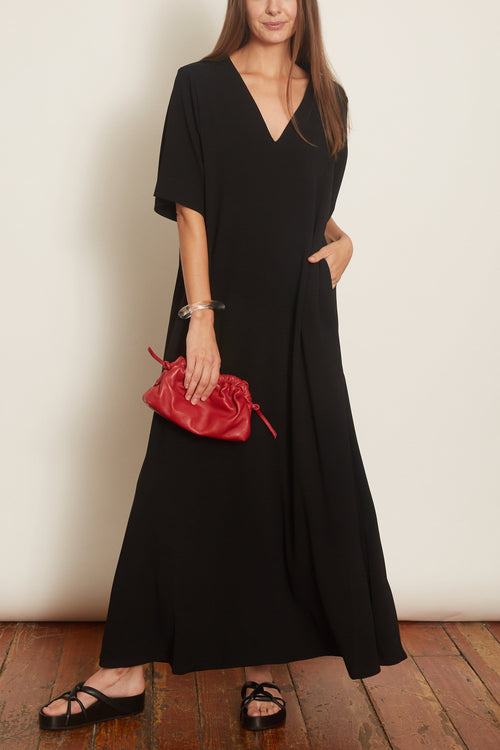 Japanese Crepe Short Sleeve V-Neck Dress in Black
