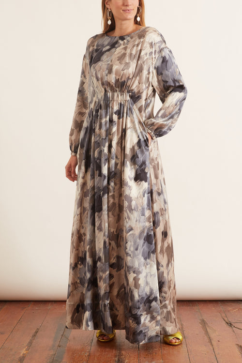 Painterly Silk Pleated Maxi Dress in Grey