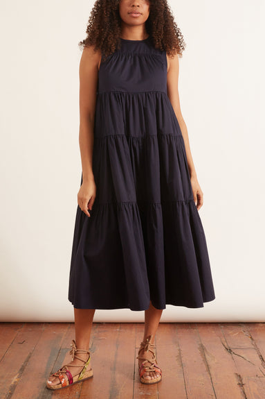 Sateen Pleated Layer Dress in Navy