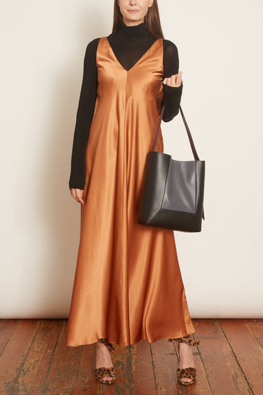 Sleeveless V-Neck Silk Charmeuse Dress in Copper