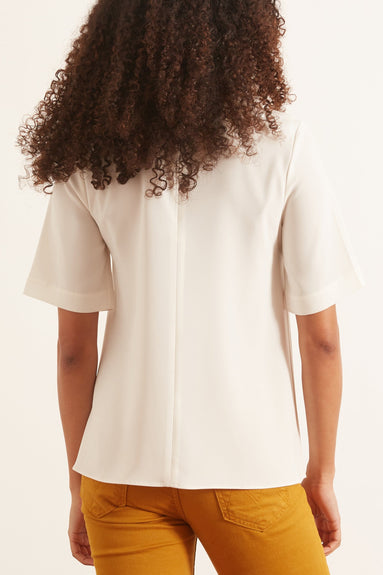 Stretch Crepe Short Sleeve Shirt in Ivory