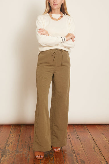 Wide Leg Linen Pant in Olive