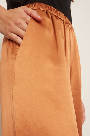 Wide Leg Silk Charmeuse Pant in Copper