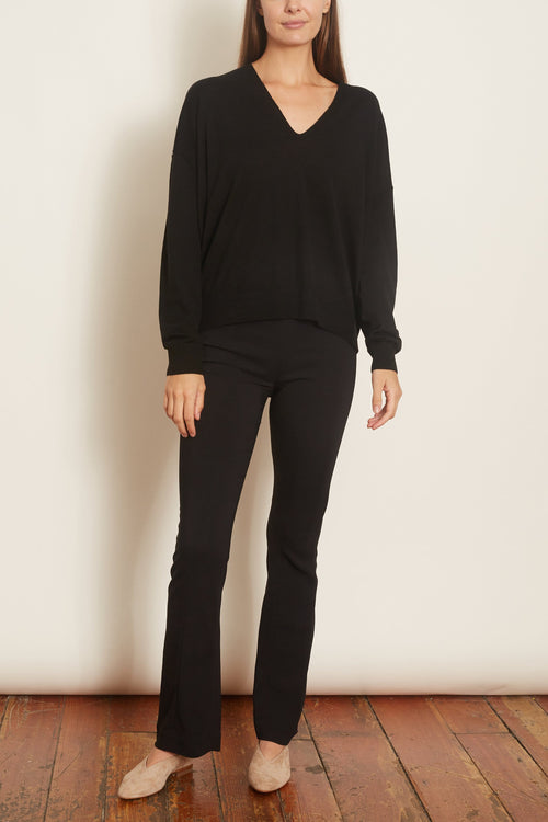 Wool Knit V-Neck Sweater in Black
