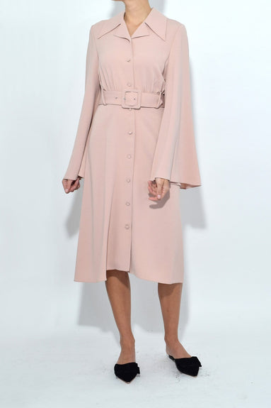 Belted Shirt Dress in Blush