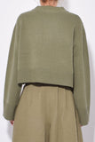 Boxy Crewneck Sweater in Olive