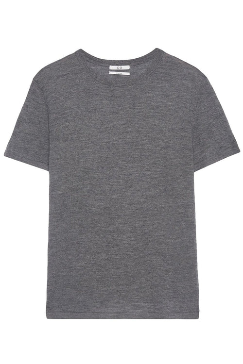 Cashmere Short Sleeve Knit Top in Grey