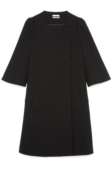 Collarless Mid-Length Jacket in Black