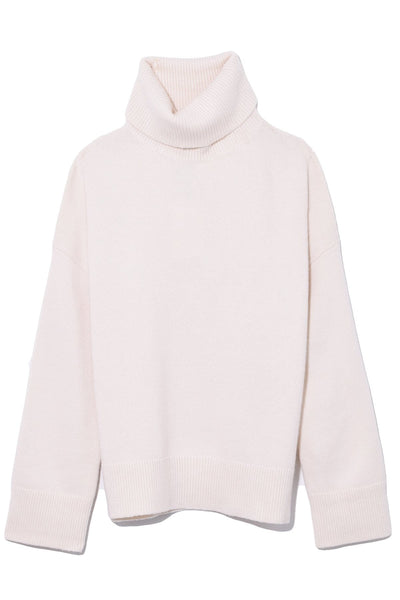 Dropped Shoulder Turtleneck in Ivory