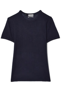 Fine Cashmere Knit Tee in Navy