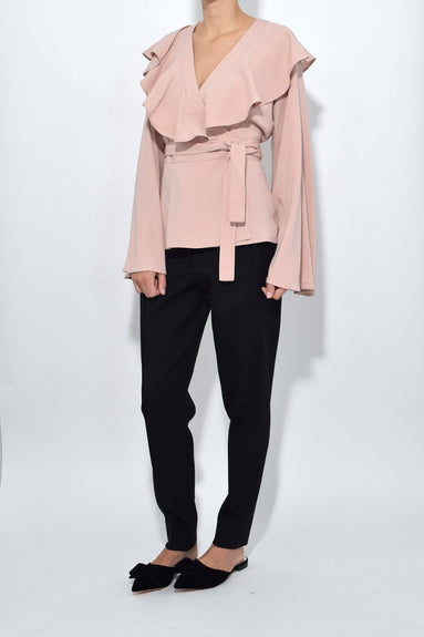 Flared Sleeve Wrap Top in Blush