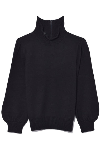 High Collar Peasant Sleeve Sweater in Black