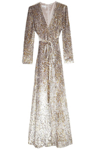 Lurex Velvet Maxi Dress in Gold
