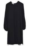 Peasant Sleeve Raglan Dress in Black