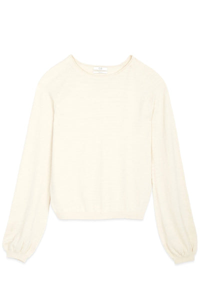 Peasant Sleeve Raglan Sweater in Ivory