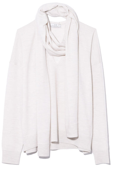 Scarf V-Neck Sweater in Chalk