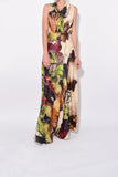 Sleeveless Cowl Neck Dress in Abstract Floral