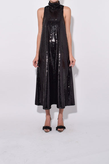 Sleeveless Maxi Dress in Black Sequins