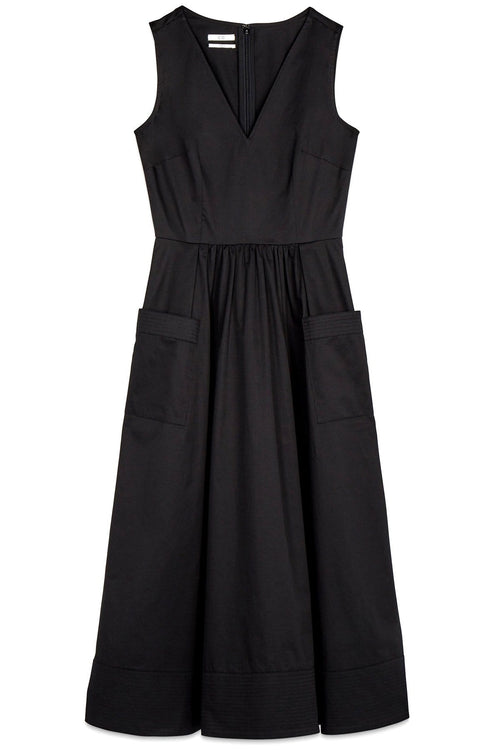 Sleeveless Trapunto Hem Dress in Black