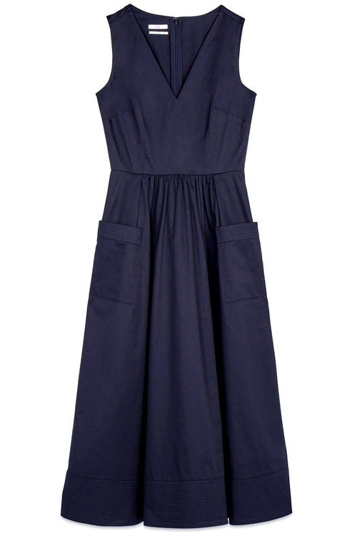 Sleeveless Trapunto Hem Dress in Navy