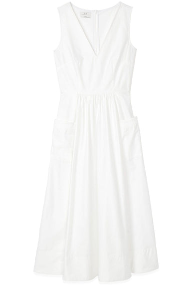 Sleeveless Trapunto Hem Dress in White