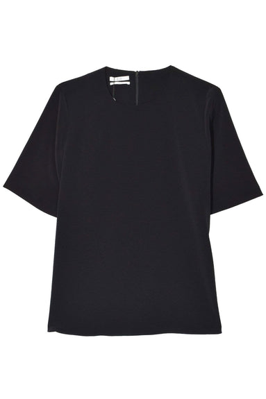 Stretch Crepe Short Sleeve Shirt in Black