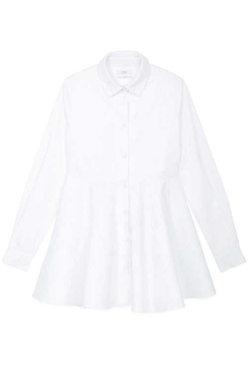 Tiered Buttondown Shirt in White