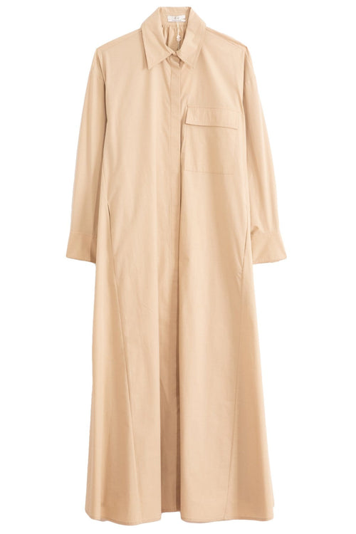 Winter Poplin Shirt Dress in Sand