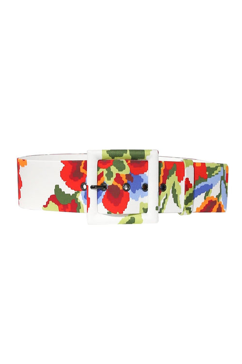 Pixel Floral Belt in White Multi
