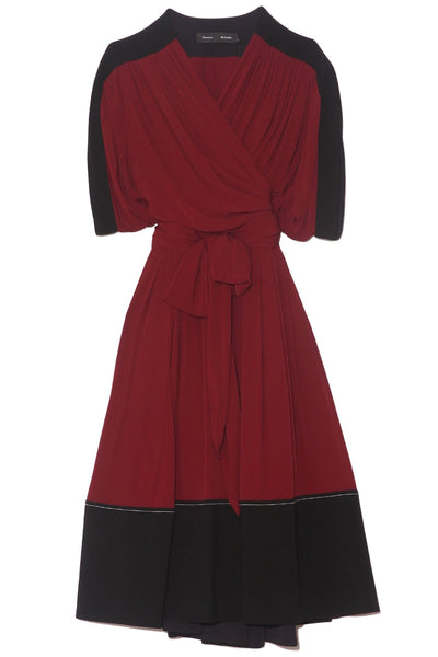 Belted Short Sleeve Dress in Bordeaux