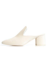 Leather Block Heel Mule in Ivory