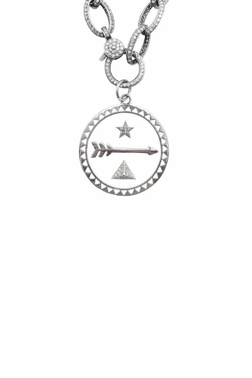 White Enamel Star Over Triangle Pendant