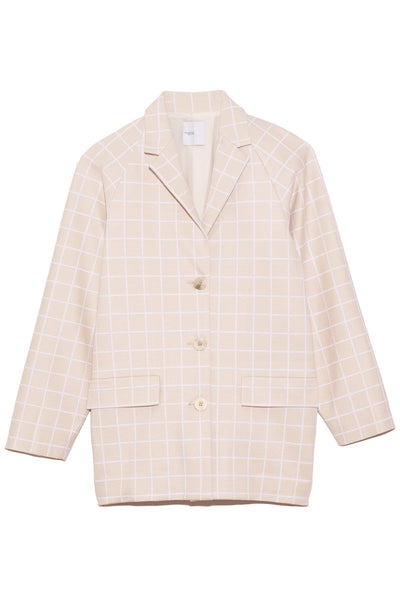 Windowpane Cocoon Blazer in Beige/White