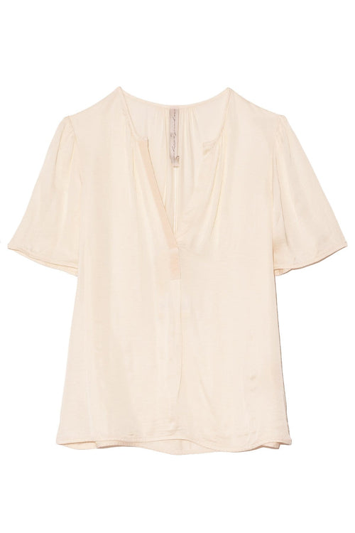 Grosgrain Blouse in Cream Tie Dye