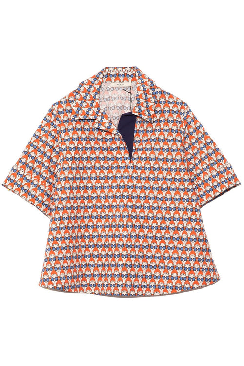Printed Quarter Button Shirt in Blood Orange