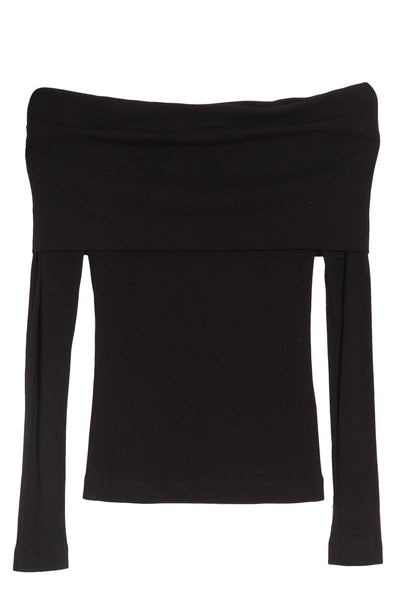 Banded Off Shoulder Top in Black