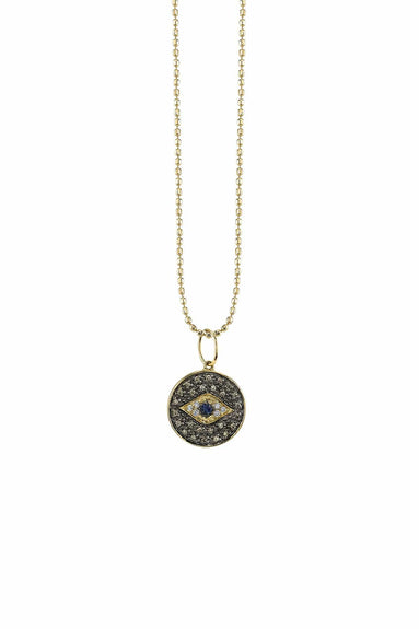 Small Evil Eye Medallion Charm Necklace