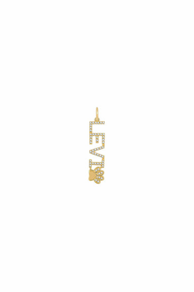 Diamond Pet Necklace Charm in Yellow Gold
