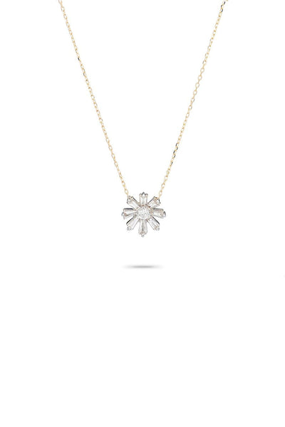 Diamond Baguette Flower Necklace in Yellow Gold