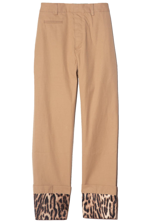 Pants with Foldover Cuff in Khaki