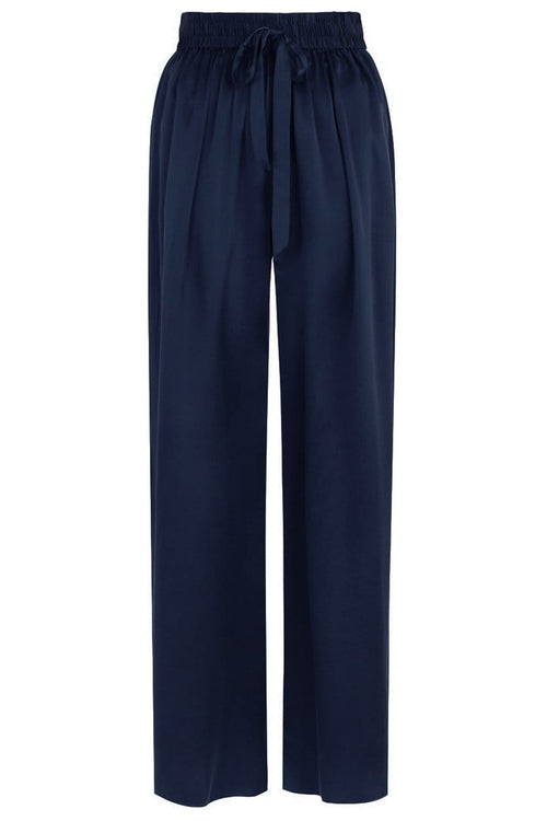Silk Track Pant in Navy