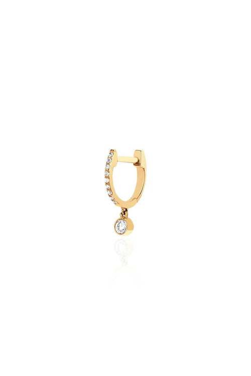 Single Diamond Mini Huggie with Diamond Bezel Drop Earring in Yellow Gold